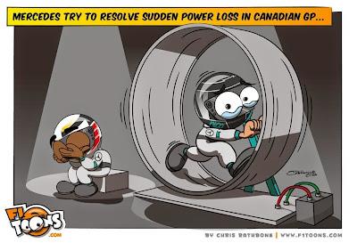 горюющий Льюис Хэмилтон и Нико Росберг в колесе - комикс Chris Rathbone по Гран-при Канады 2014