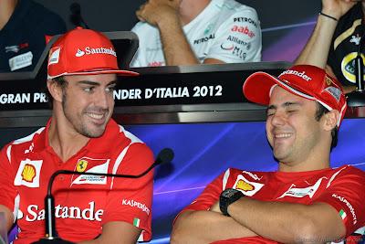 Фернандо Алонсо и Фелипе Масса на пресс-конференции Гран-при Италии 2012