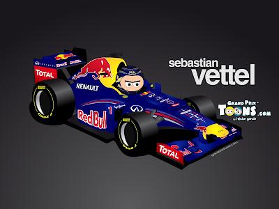 Себастьян Феттель Red Bull RB8 Grand Prix Toons 2012