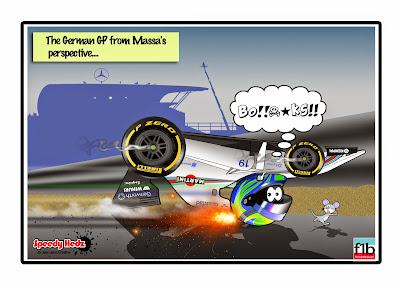 Фелипе Масса вверх ногами в Williams - комикс SpeedyHedz по Гран-при Германии 2014