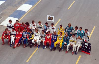 общая фотография пилотов на старте сезона в Аделаиде на Гран-при Австралии 1987