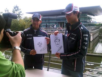рисунки Пастора Мальдонадо и Бруно Сенны самих себя на Гран-при Китая 2012