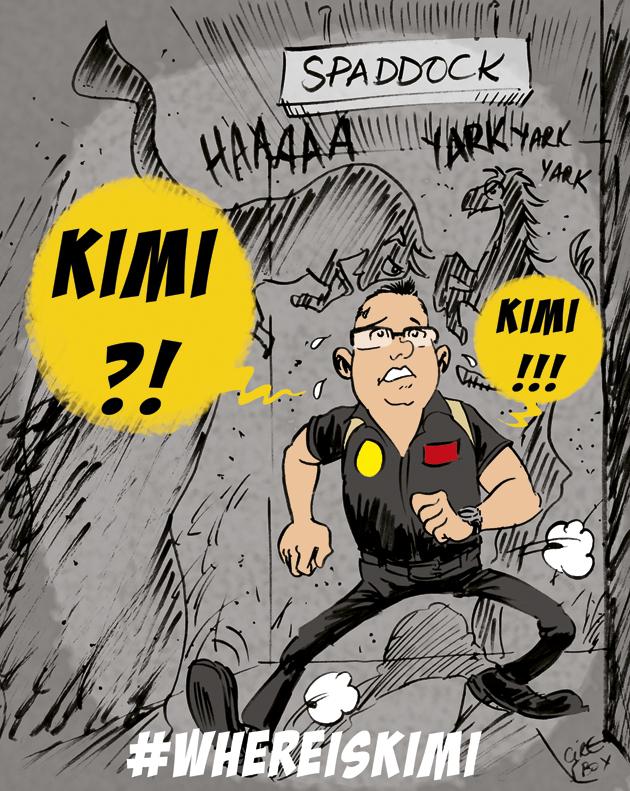 Эрик Буйе ищет Кими Райкконена в паддоке Спа - комикс Cirebox по Гран-при Бельгии 2013