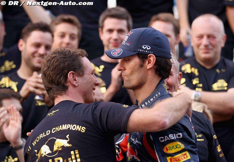 Кристиан Хорнер обнимает безэмоционального Марка Уэббера после победы в кубке конструкторов на Гран-при Кореи 2011