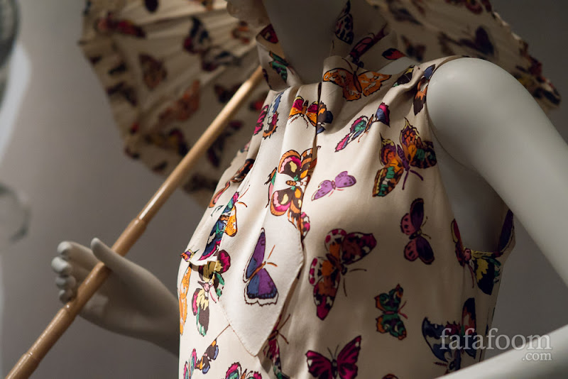 Butterfly print closeup of Elsa Schiaparelli, Evening Dress, 1937.
