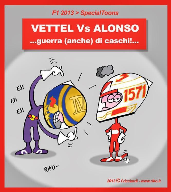 война шлемов между Себастьяном Феттелем и Фернандо Алонсо - комикс Riko после Гран-при Абу-Даби 2013