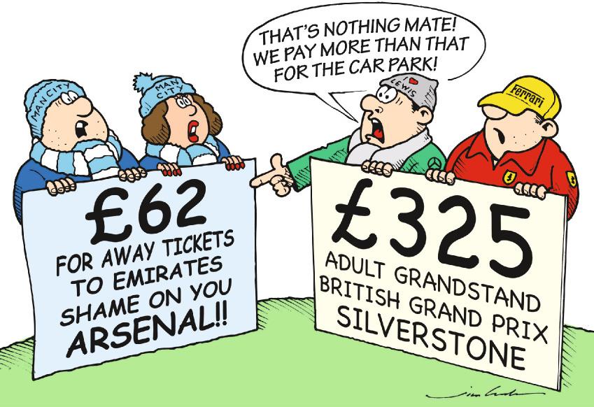 футбольные и формульные болельщики обсуждают цены на билеты - комикс Jim Bamber