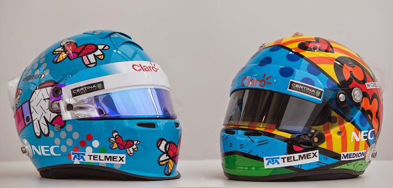 шлема Эстебана Гутьерреса и Адриана Сутиля от всемирно известного бразильского поп-арт художника Ромеро Бритто для Гран-при Монако 2014