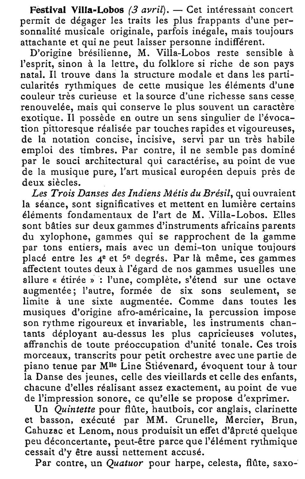 Festival Villa-Lobos, Paris, 1930