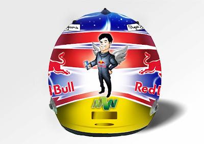 специальный дизайн шлема Марка Уэббера для Сингапура от Zlatka Subotičanec