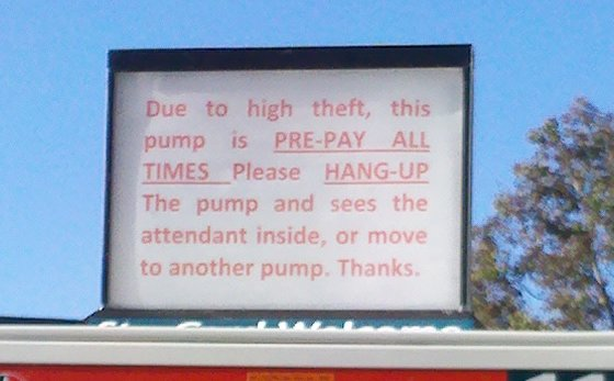 calwell pump sign