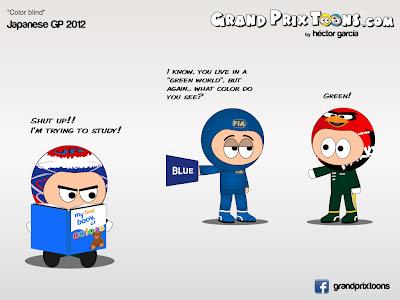 Виталий Петров и Хейкки Ковалайнен не видят синих флагов на Гран-при Японии 2012 - комикс Grand Prix Toons
