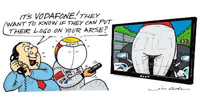 комикс Jim Bamber о предложении Vodafone Льюису Хэмилтону после Гран-при Бельгии 2011
