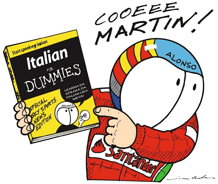 Фернандо Алонсо с книжкой Italian for Dummies - комикс Jim Bamber по Гран-при Венгрии 2012