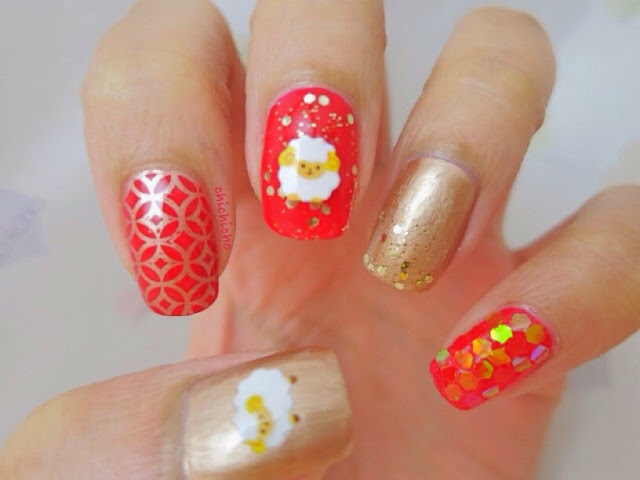Year of Sheep Nail Art! Happy Chinese New Year!