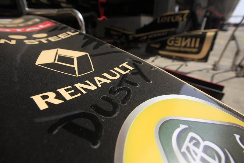Dusty пыльное переднее антикрыло Lotus Renault на Гран-при Индии 2011