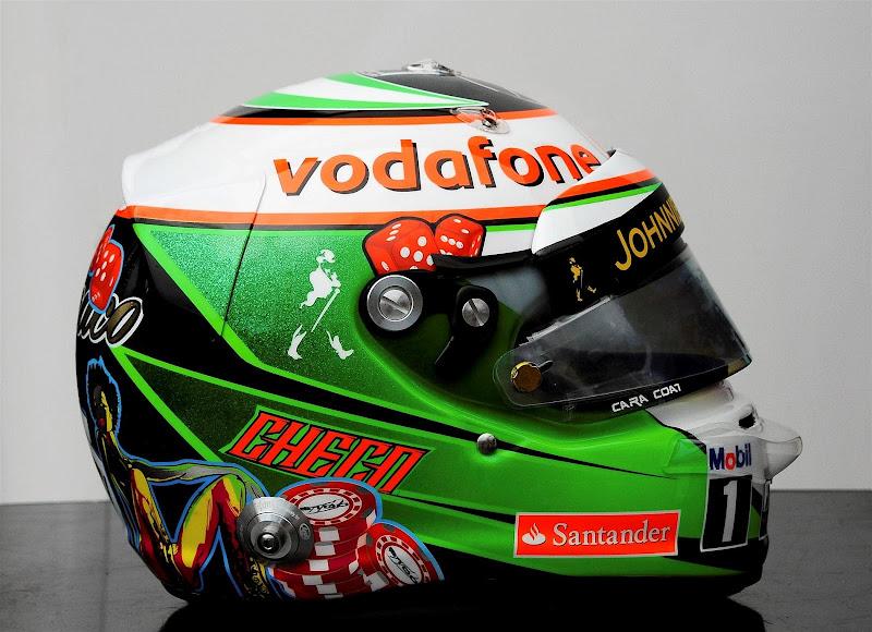 шлем Серхио Переса с фишками для Гран-при Монако 2013
