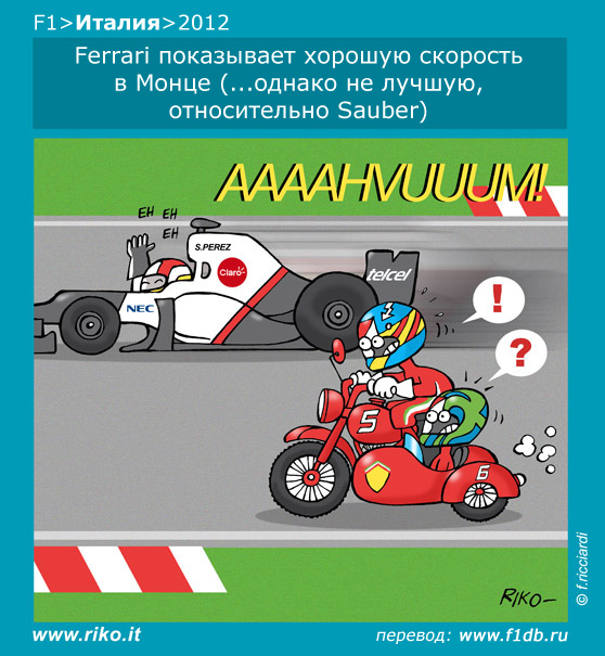 Серхио Перес на Sauber обгоняет Ferrari Фернандо Алонсо и Фелипе Массы в Монце - комикс Riko по Гран-при Италии 2012