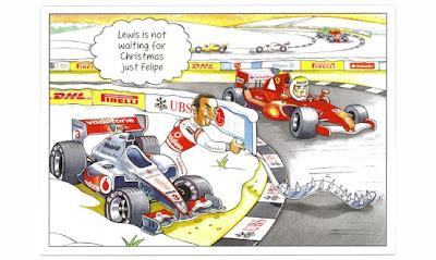 рождественская открытка Берни Экклстоуна 2011 - комикс - Льюис Хэмилтон поджидает Фелипе Массу
