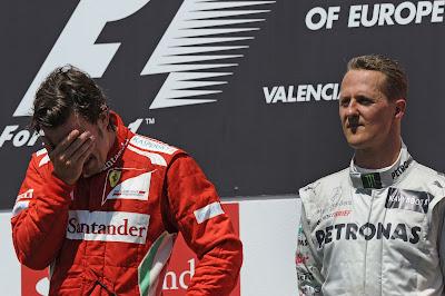 Фернандо Алонсо и Михаэль Шумахер на подиуме Гран-при Европы 2012