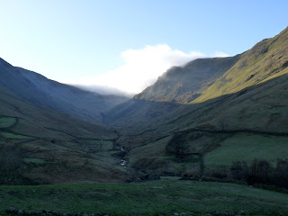 As we set off from Hartsop the valley of Pasture Bottom was in shade while the sun was lighting up the slopes of Hartsop Dodd and the cloud was touching the top of Raven Crag.