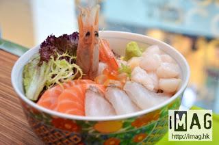 真鯛大赤海蝦什錦魚生丼,用上原片魚生。售價:$88