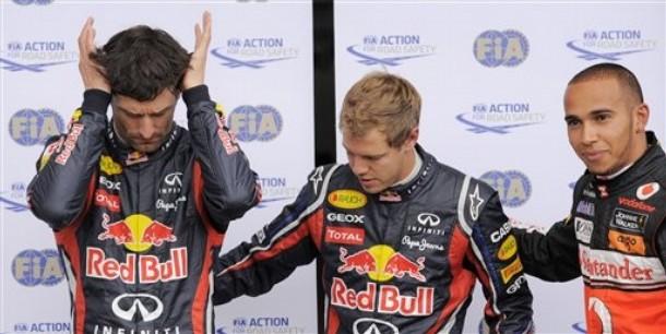 Марк Уэббер Себастьян Феттель Льюис Хэмилтон после квалификации на Гран-при Германии 2011