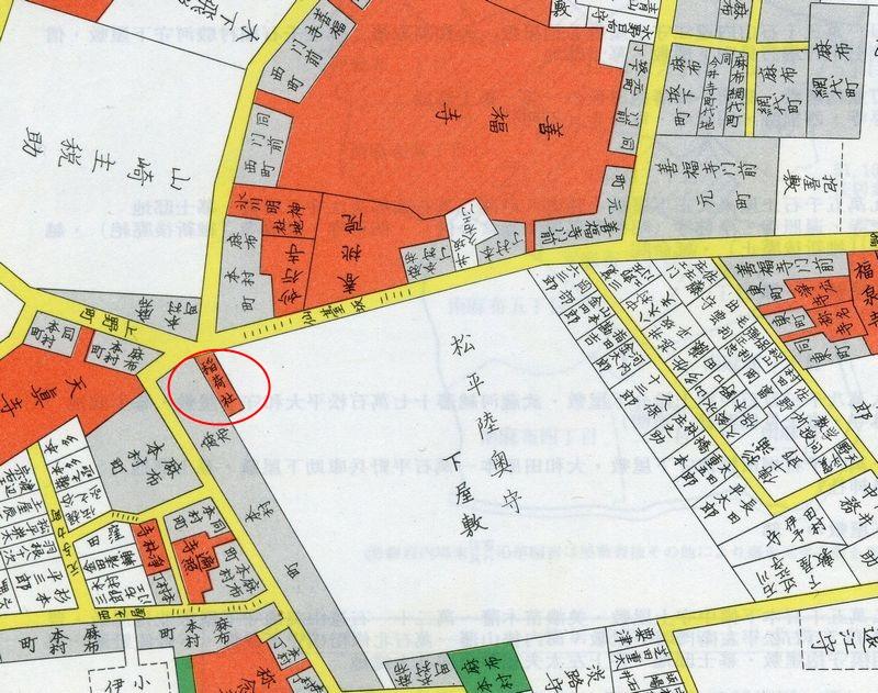 文久二(1862)年御府内沿革図書の仙台藩麻布屋敷 昭和8(1933)年東京市麻布区地積図の高尾