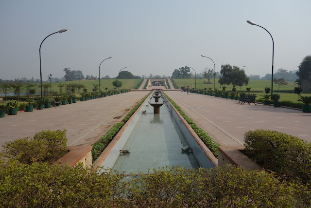 Raj Ghat is a large park full of memorials honoring former Indian leaders.