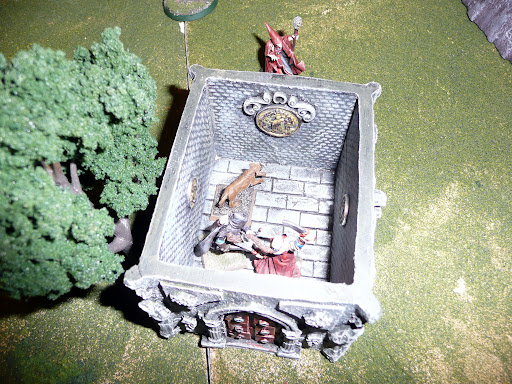 Coffin patrol finishes searching a crypt, as Bonecaller lurks outside