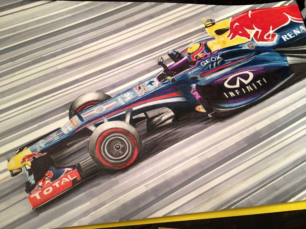 Марк Уэббер за рулем Red Bull RB9 - рисунок Vincent Venegas