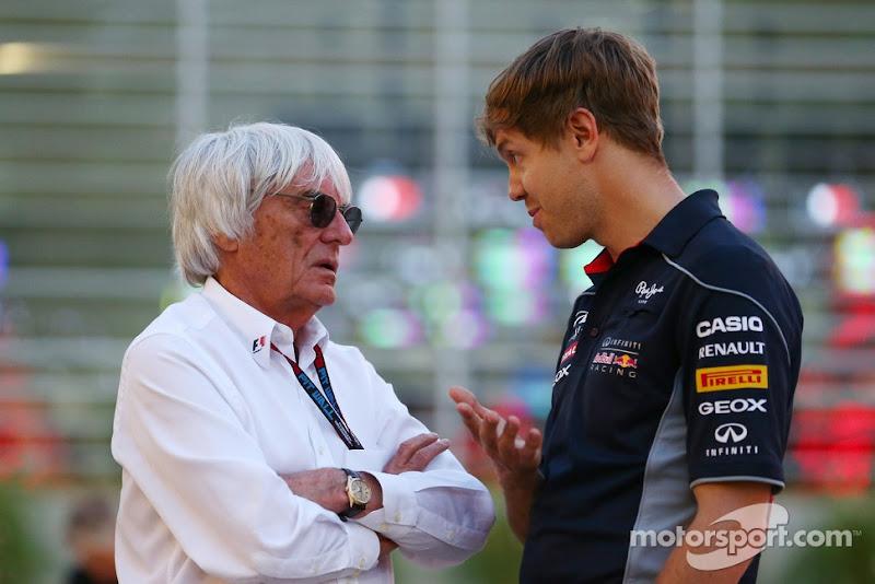 Берни Экклстоун и Себастьян Феттель на Гран-при Бахрейна 2013