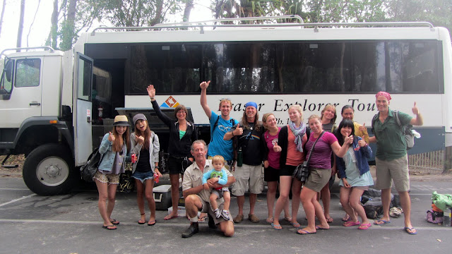 Our Cool Dingo tour guide and group in front of the 4WD Bus.