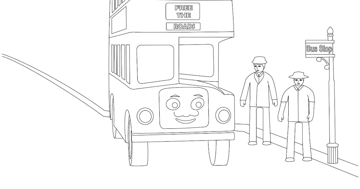 bulgy the double decker bus coloring page