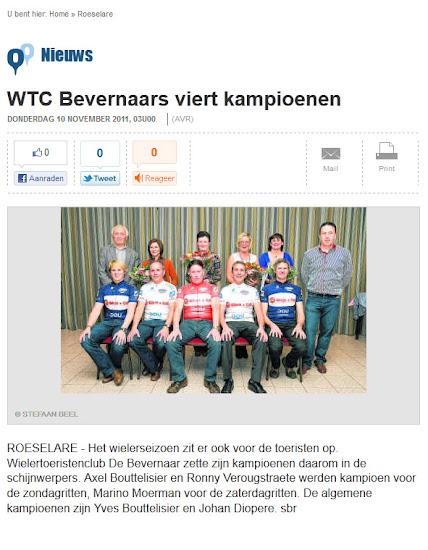 WTC De Bevernaar viert kampioenen, Nieuwsblad.be/roeselare