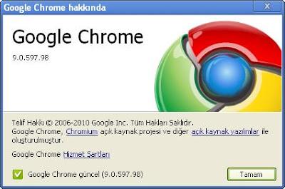 Google Chrome 9 Güncelleme