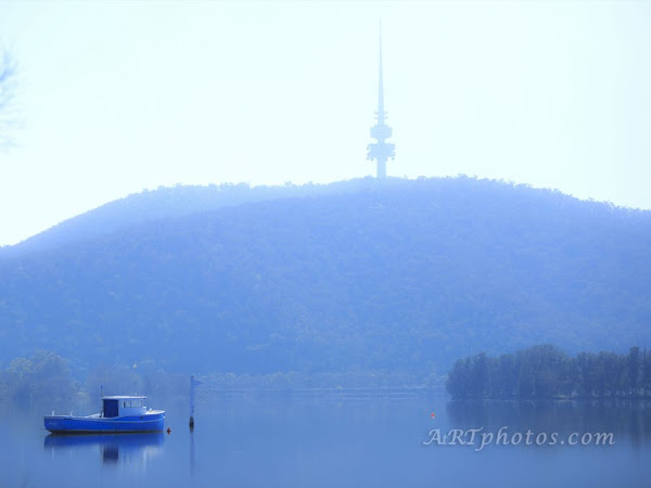 Last of the fog down by Lake Burley Griffin - Friday 16 August 2013