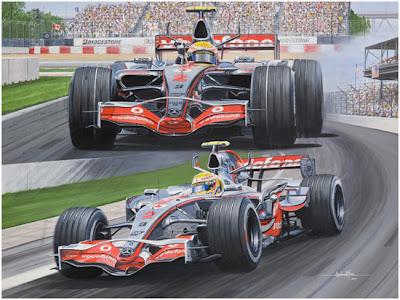 рисунок Льюис Хэмилтон на McLaren одерживает свою первую победу в Формуле-1 в Монреале на Гран-при Канады 2007