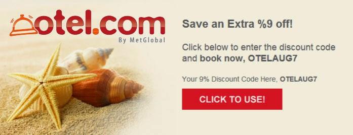 Otel.com最新9.1折優惠碼,2014年8月19日前適用。