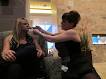 Miranda gets some hair tips from a waitress