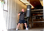 Pat works out in his usual gym: the emptied semi-trailer.