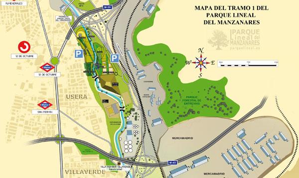 mapa tramo 1 parque lineal del manzanares