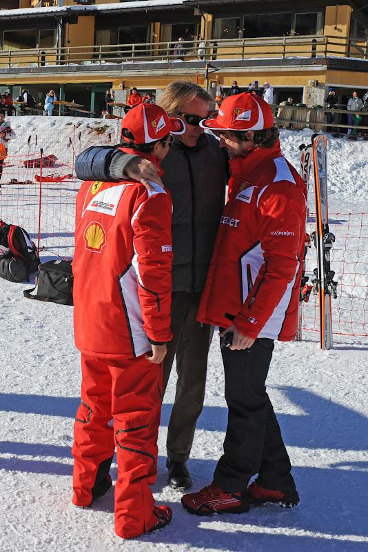 Лука ди Монтедземоло обнимает Фелипе Массу и Фернандо Алонсо на Wrooom 2012