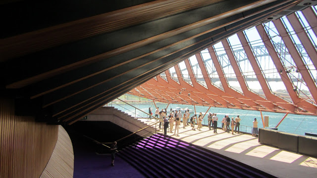 Inside the Opera House's foyer, overlooking the Harbour Bridge.