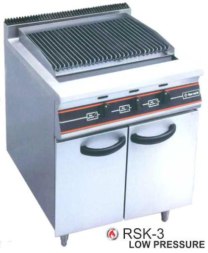 Alat Panggang Gas Batu Arang dengan Rak Lemari (Char Rock Gas Open Griddle Broiler Shelf Cabinet) : RSK-3