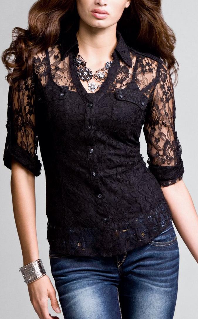 Кружевные блузки - фото