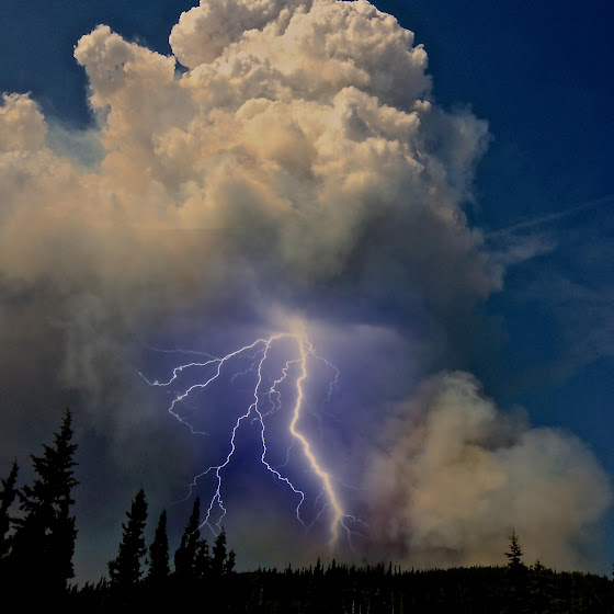 June 2, 2013 - A pyrocumulus cloud above the Moon Lake Complex Fire in Alaska unleashes a lightning bolt. (Inciweb)