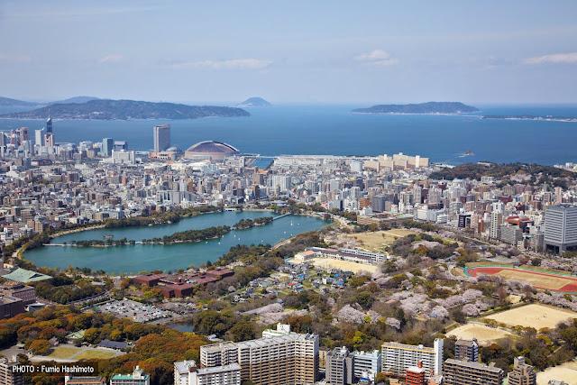 The Fukuoka skyline, facing northwest