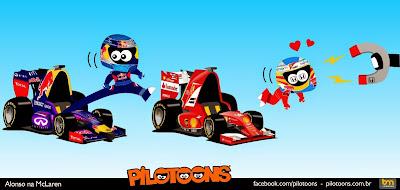 Себастьян Феттель занимает место Фернандо Алонсо в Ferrari - комикс pilotoons