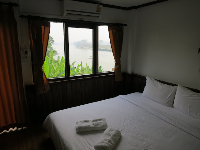 Our hotel room with a view over the Mekong in Huay Xai, Laos.